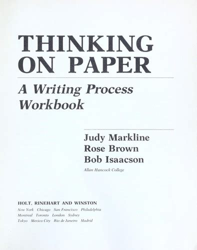 writing is thinking on paper thinking on paper a writing process workbook edition