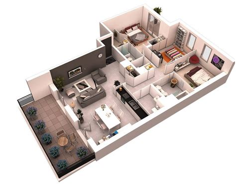 1 Room Floor Plans 3d - 25 more 3 bedroom 3d floor plans