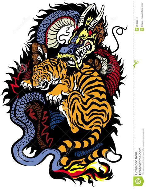 tattoo dragon et tigre combat de dragon et de tigre image stock image 35090941