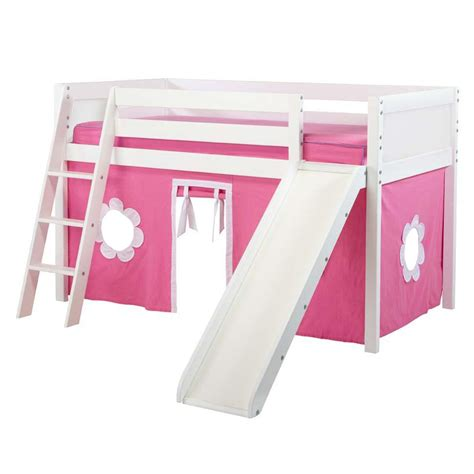 slide curtain com jackpot twin low loft with angled ladder