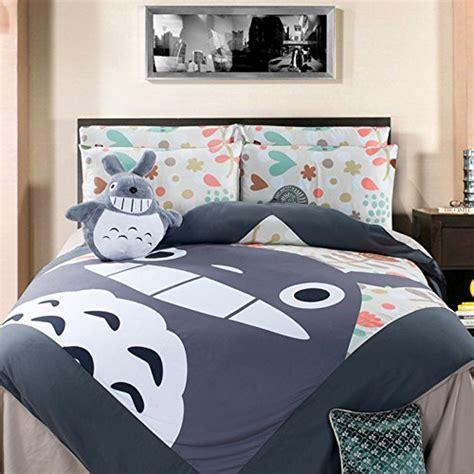 totoro comforter casofu 174 gray totoro bedsheet style bedding set cartoon