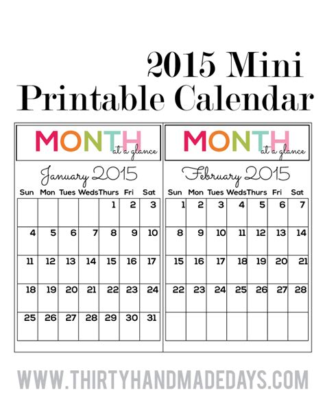 small calendar template mini binders printables included