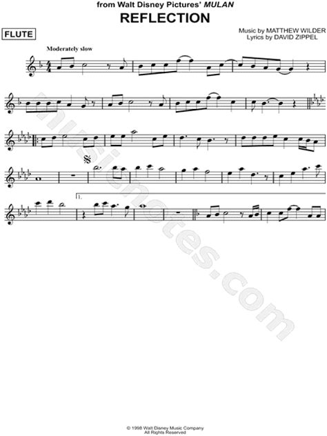 """Reflection"" from 'Mulan' Sheet Music (Flute Solo) in F"