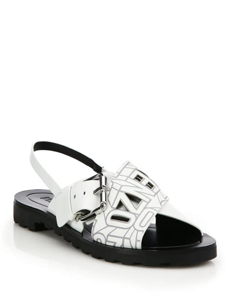 Kenzo Sandals kenzo logo leather crossover slingback sandals in white lyst