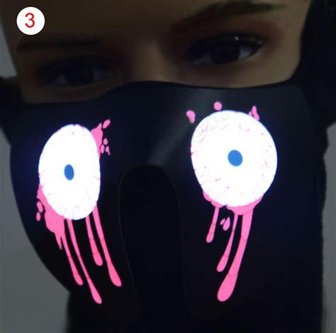 Led Light Face Mask Face Mask Led Light Up Flashing Halloween Party Costume