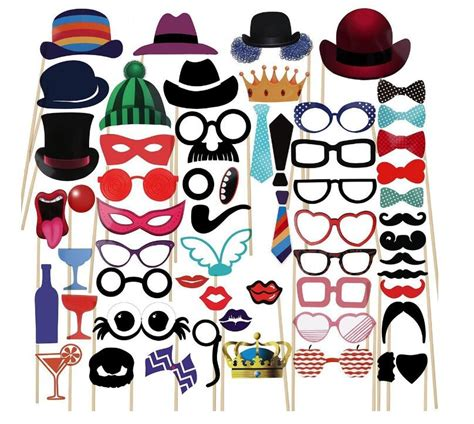 58pcs diy photobooth photo booth props kit for wedding birthday baby shower