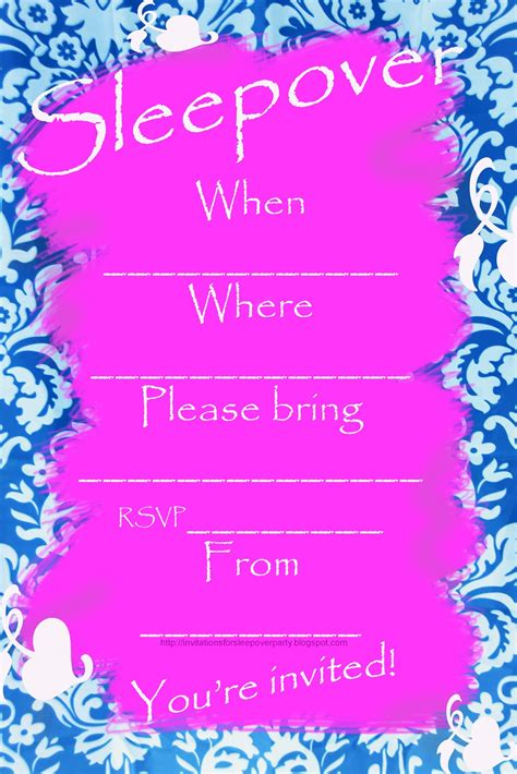 printable invitations for a sleepover party invitations for sleepover party