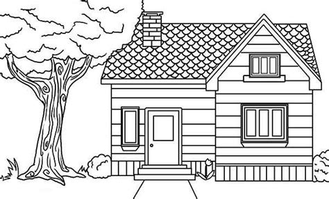 a coloring page of a house home and house coloring pages coloring pages