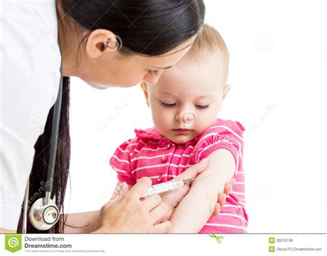 doctor injecting baby isolated stock photo image