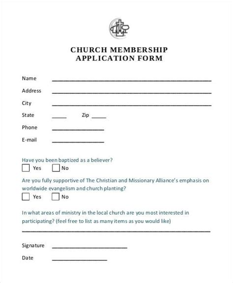 Church Membership Application Form Template 7 membership application form sles free sle