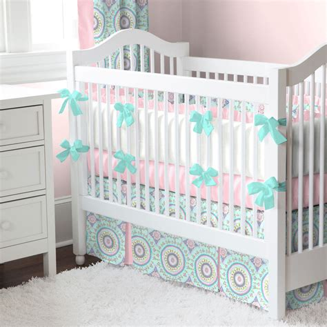 Aqua Haute Baby Crib Bedding Teal Accents Bubblegum Aqua And Pink Crib Bedding