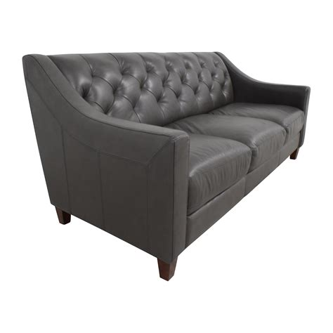 69 Off Macy S Macy S Tufted Gray Leather Sofa Sofas Tufted Gray Sofa