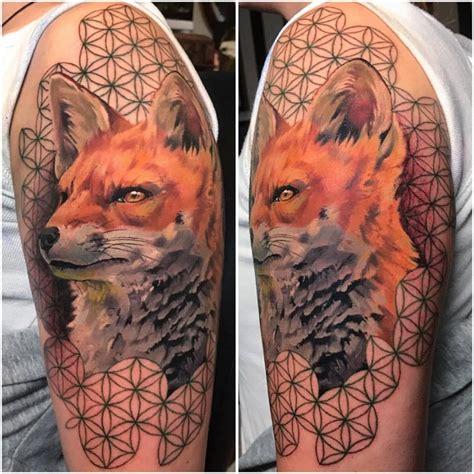 animal tattoo hoax geometric fox tattoo on left half sleeve by koit tattoo