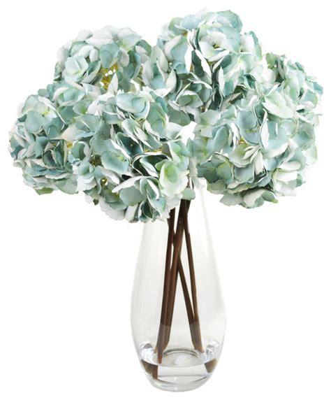 vases marvellous contemporary vase arrangements teal hydrangea cluster in glass vase contemporary