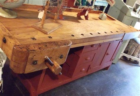 antique reclaimed workbench turned   kitchen island
