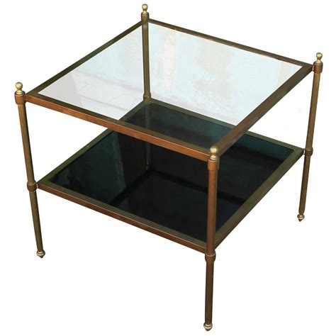 glass and brass end tables pair of brass and glass end tables at 1stdibs