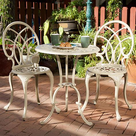 Outdoor Patio Bistro Set by Christopher Home Anacapa Aluminum White Bistro