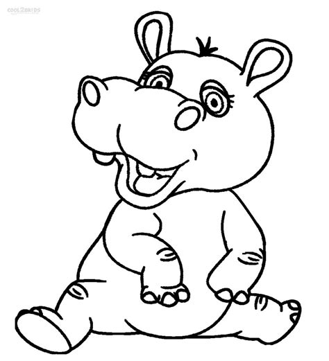 hippo baby colouring pages