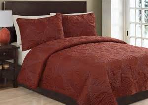 3pc anq rust luxury quilt set bedding and comforter