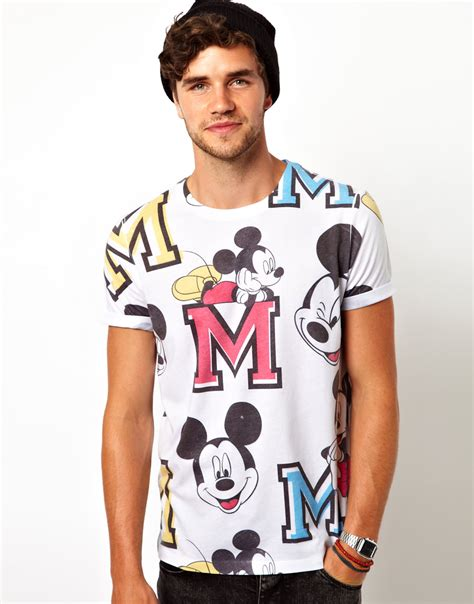 asos tshirt with all varsity mickey mouse print in white for lyst
