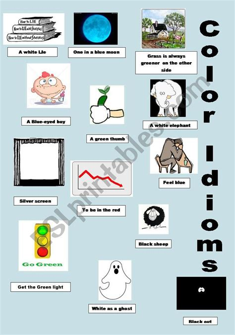 color idioms color idioms colour idioms esl worksheet by pepelie