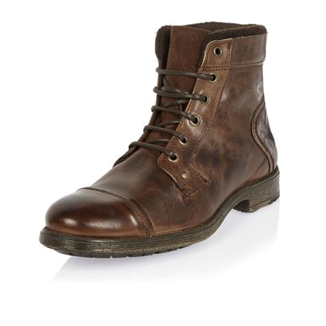 river island boots for lyst river island brown leather utility boots in