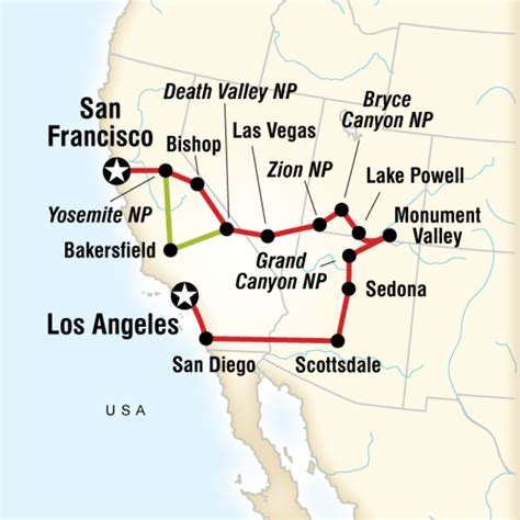 grand to la map national parks bright lights in united states