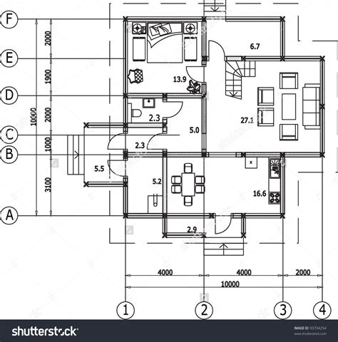 Architectural Drawing Of A House Autocad Vector 93734254 Architectural Design Using Autocad