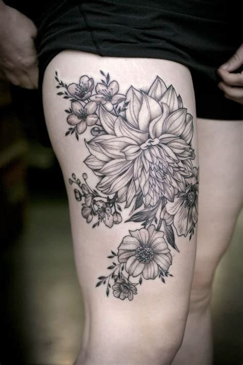 thigh flower tattoos 45 beautiful dahlia tattoos
