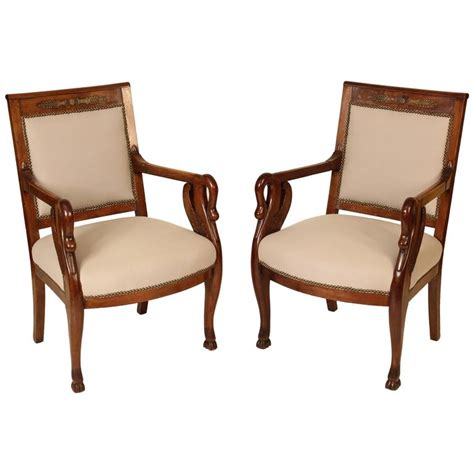 Swan Armchair by Pair Of Empire Style Swan Carved Armchairs For Sale At 1stdibs