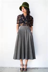 Vintage 1970s grey high waist wool skirt cinereal wool skirt 32