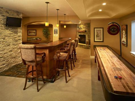 Yellow Accents Wall Painted Of Enchanting Home Basement Bar Ideas For Basement