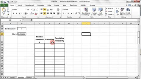 binomial probability distribution excel part 1 youtube