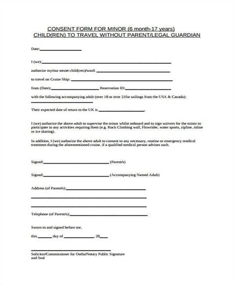 child medical consent forms child travel consent form