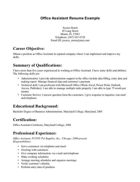 office assistant resume sample executive administrative assistant