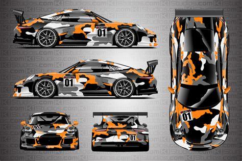 Orange Camo Race Cars | porsche racing livery camo wrap covert ki studios