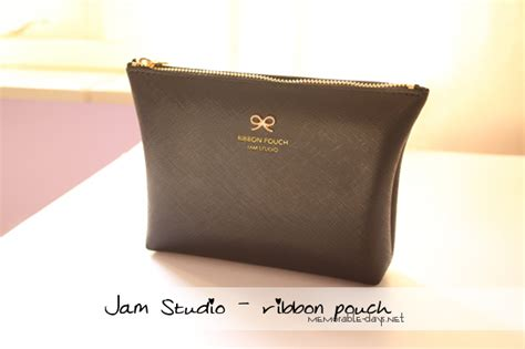 Jam Cosmetic Pouch Weekeight Cosmetic Pouch haul jam studio ribbon faux leather make up bag memorable days korean