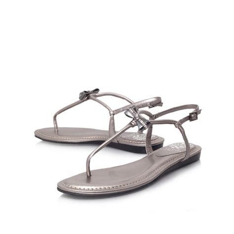 vince camuto silver sandals vince camuto klaudio flat sandals in silver lyst