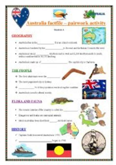 australia new zealand quiz worksheet free esl english worksheets australia worksheets page 2