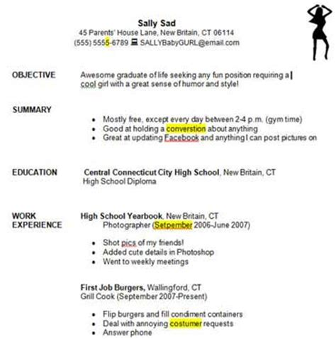 resume for highschool students first job writing a good resume student exercise education world