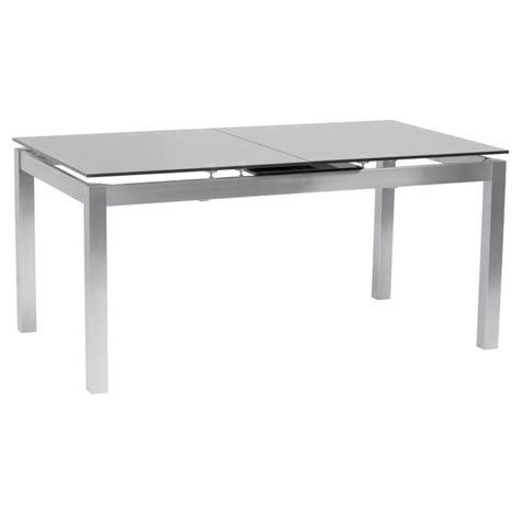 brushed stainless steel and glass dining table armen living ivan extension dining table in brushed