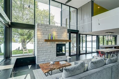 Modern Earthy Home Design by Glass Lake House Features Modern Silhouette Of Earthy