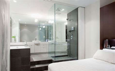 bedroom attached bathroom design glass bathroom ideas attached with bedroom glass bathroom