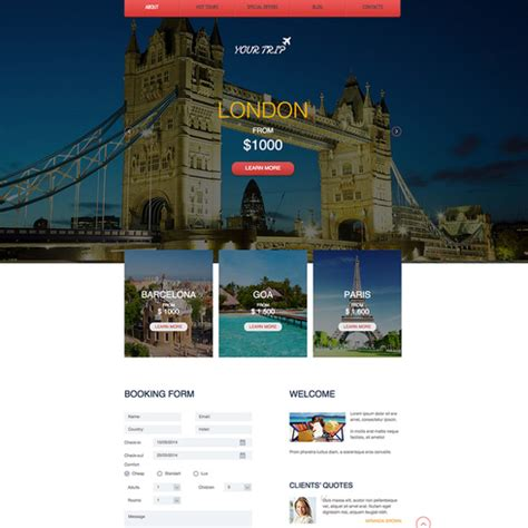 travel agency templates free travel agency free responsive website template