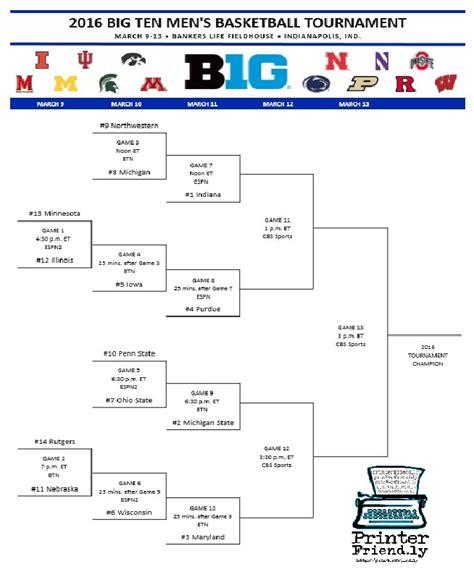 2016 Big Ten Tournament Printable Bracket | get your printable 2016 big ten basketball tournament bracket