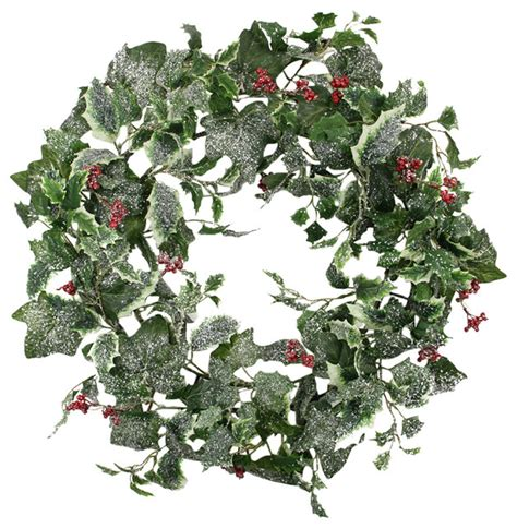 24 quot frosted holly berry and ivy artificial christmas