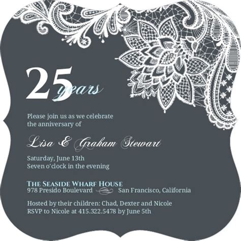 25th anniversary invitations templates 25th anniversary invitations