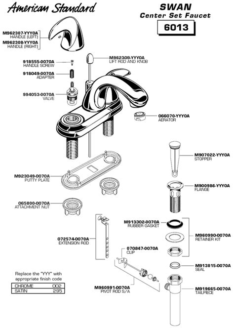 bathroom sink components plumbingwarehouse american standard bathroom faucet parts
