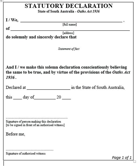 Statutory Declarations Template by Template Statutory Declaration Template