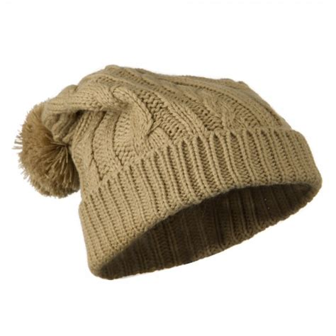 cable knit hat with pom beanie beige cable knit hat with pom pom e4hats